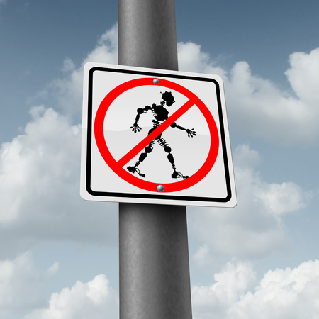 Robot and robotic technology fear for technology job loss concept as a ban or banned traffic sign with a cyborg icon as a symbol for being afraid of future innovation in artificial inelligence and high tech manufacturing with 3D illustration elements. Stock Photo