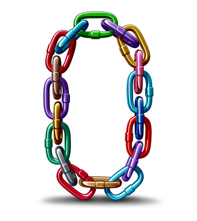 Diversity together chain concept as a group of metal links connected as a strong unbreakable diverse network as a business company metaphor  for strength in a multicultural team unity as a 3D ilustration.