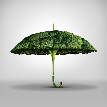 surreal: Nutrition protection benefits and food power to fight disease and increase the immune system by eating natural ingredients as a broccoli shaped as an umbrella with 3D illustration elements. Stock Photo