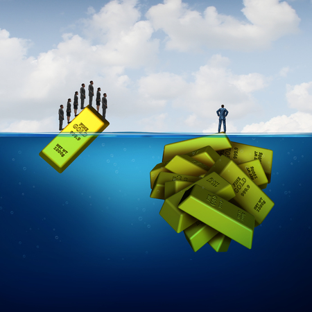 wealth concept: Vision investing and hidden wealth opportunity business concept as a smart financial investor metaphor versus common investment follower crowd as a single and group of gold bars with 3D illustration elements. Stock Photo