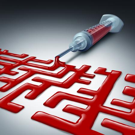 3 D イラストレーションとして医療分野における困難と混乱を表す迷宮として形赤血球液の注射器と医療迷路や医療の課題を移動します。 写真素材