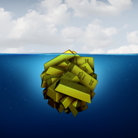 Iceberg business concept as a hidden fortune opportunity economic vision concept as an investing metaphor as agroup of gold bars with 3D illustration elements. Stock Photo