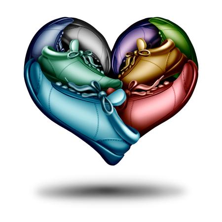 Lopende liefde symbool als een groep lopende schoenen of sneakers in de vorm van een hart als een jogging oefening icoon in een 3D-illustratie stijl.