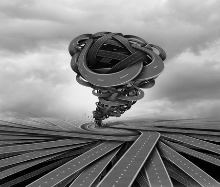 Business storm and concentration and convergeance of forces creating a whirlwind tornado as a metaphor for industry change and pathway disturbance and concentrated pressure as a 3D illustration. Reklamní fotografie