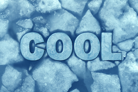 Cool ice symbol as text in frosty glacial frozen water as a refrigeration and air conditioning comfort symbol with 3D illustration elements. 版權商用圖片