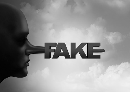 Fake media concept and leak or leaking news or hoax journalistic reporting as a person with a long liar nose shaped as text as false information and reporting metaphor and deceptive disinformation with 3D illustration elements. Stock Photo