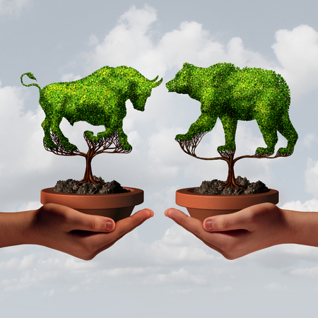 Growing stock market trends and financial advisor guidance or stock broker economic business sentiment as two hands holding a bear and bull tree as a shareholder economy concept with 3D illustration elements. Stock Photo