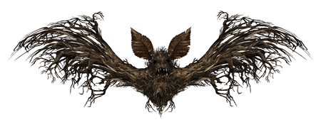 surreal: Ghost bat isolated on a white background as a creepy scary surreal flying winged creature made from a tree as a spooky surrealistic vampire horror symbol or halloween icon with 3D illustration elements.