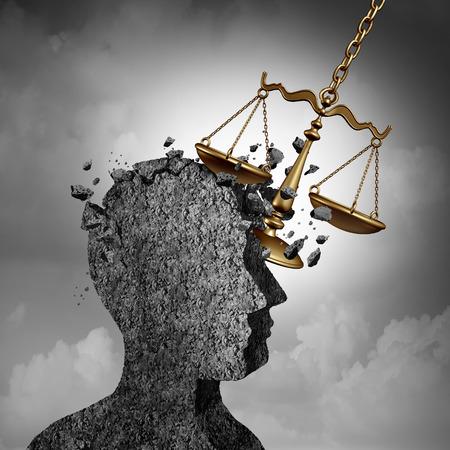 Concetto di controversia e di causa legale come avvocato o avvocato metafora e simbolo di ansie dell'attore come scala di legge che danneggia un'icona umana come un impatto a causa di questioni legali dei tribunali o essere citato in giudizio e indagato come un'illustrazione 3D. Archivio Fotografico