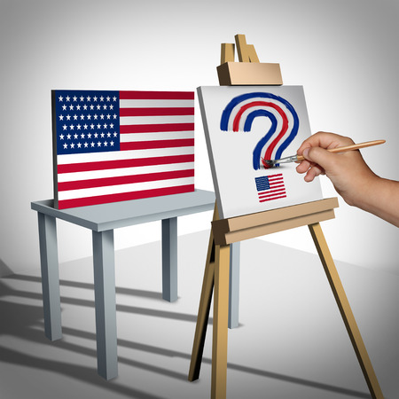 flag: United States questions or national arts funding and white house political issues or Washington legislation uncertainty as an artist looking at a national flag painting a question mark with 3D illustration elements.