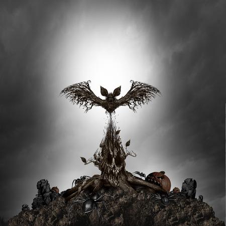 Concepteur de monstre d'arbre effrayant comme une scène d'horreur sombre et sombre de nuit avec une plante mutante vivante en forme de crâne maléfique et chanteur fantôme hanté comme fond d'Halloween surréaliste avec des éléments d'illustration 3D.