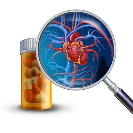 Heart medicine and cardiac medications concept as a magnifying glass on a prescription pill bottle showing a human heart with veins and arteries with 3D illustration elements. Фото со стока