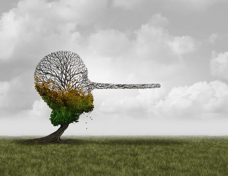 Climate change denier concept as a dying sick tree shaped as a human head with a long nose as a surreal environmental metaphor and conservation symbol for global warming disinformation with 3D illustration elements. Stock Photo