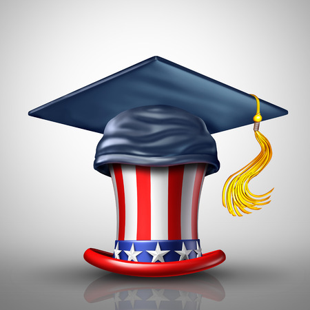 Education in the United States for private and public schools as a mortar board or graduation cap on an American star and stripes top hat as a learning and USA university or college metaphor as a 3D illustration. 版權商用圖片