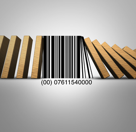 Retail industry and sale of goods challenges and the decline of traditional sale of products caused by online internet shopping as a 3D illustration. Stock Photo