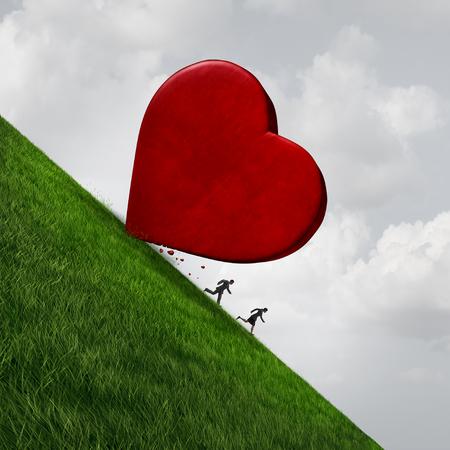 3 D イラストレーション elemema と出会いや結婚のシンボルとして丘を転がり落ちる巨大な心から逃げて、男女としての関係ストレス概念。 写真素材 - 80677171