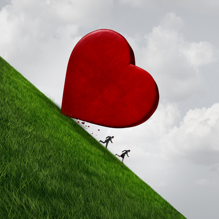 Relationship stress concept as a man and woman running away from a giant heart rolling down a hill as a dating or marriage symbol with 3D illustration elemema.