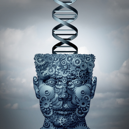 Machine DNA concept and biochemistry technology symbol as a head made of gears with a human genetic strand as a medical symbol as a 3d illustration. Stock Photo