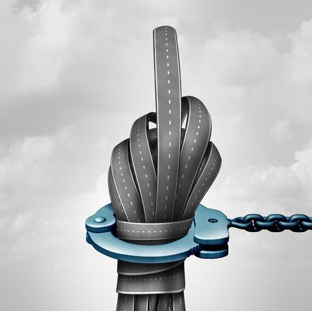 violación: Road rabia delito y conducción agresiva acto criminal como un grupo de símbolos de carretera en forma de un gesto de mano grosero como una metáfora violación de la ley de tráfico como una ilustración 3D. Foto de archivo