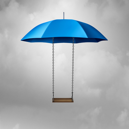 Childhood protection and child safety symbol as an umbrella with a swing protecting and providing safety and shelter to vulnerable youth as a 3D illustration.