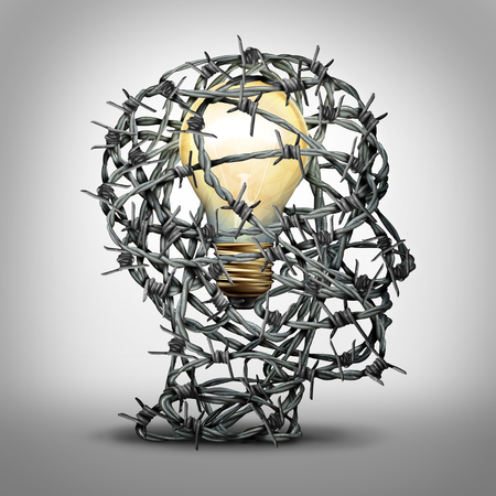 Protect your idea business thinking concept as a group of barbed wire shaped as a human head with an illuminated light bulb inside as a security and trademark or copyright protection metaphor with 3D illustration elements.