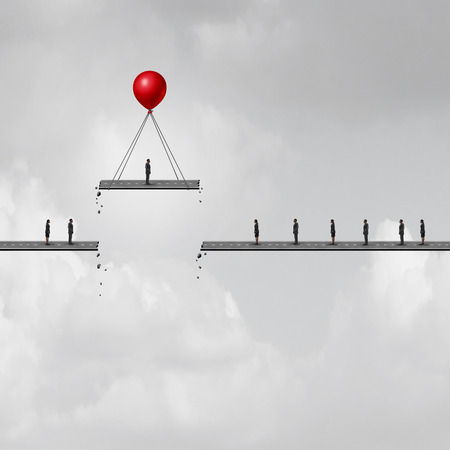 Promotion concept as a businessman on a road being lifted up by a balloon with other people left behind as a business metaphor with 3D illustration elements.
