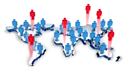 profession: Global recruitment and international business hiring concept as a group of people icons on a world geography with red employees representing recruits or career candidates as a 3D illustration. Stock Photo