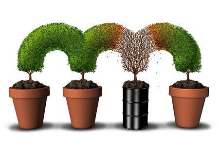 枯れ木セグメントの成長としての土壌汚染、有毒な汚染物質で汚染された環境の概念、石油油することができますまたは 3 D の図要素と自然を殺す危険な化学バレル。 写真素材 - 81114273