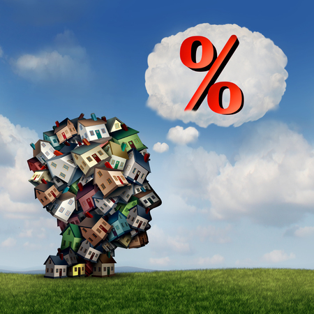 Mortgage rate plan and planning for home lending interest percentage rates as a group of houses shaped as a human head with a percent icon inside a thought bubble as a real estate finance metaphor with 3D illustration elements. Stock Photo