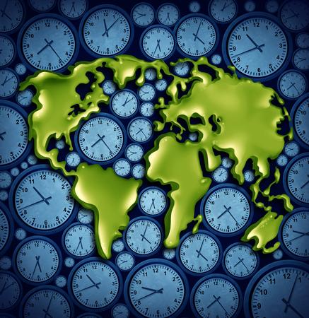 세계 시간 영역 비즈니스 여행 개념 국제 여행 3D 그림 요소와 기호에 대 한 다른 시계 아이콘에 행성으로.
