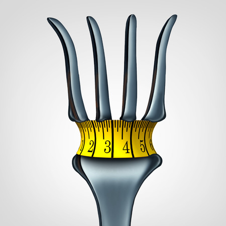 calorie: Measuring tape on fork representing a diet belt tightening symbol as a reduction in calorie intake and healthy lifestyle icon as a 3D illustration.