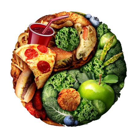 Nutrition and diet balance as a choice between good green natural food and unhealthy processed snacks shaped as a ying and yang symbol isolated on a white background with 3D illustration elements.