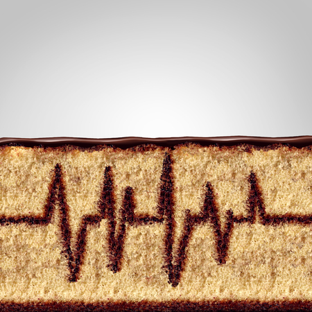 excess: Eating and health concept as a cake with the filling shaped as an ekg or ecg monitor pattern as a medical or medicine risk symbol due to poor diet or unhealthy nutrition in a 3D illustration style. Stock Photo