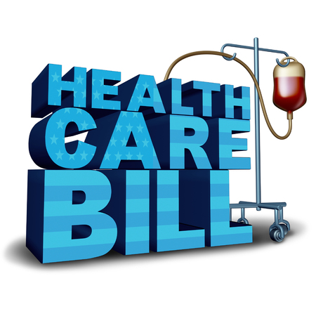 medicaid: United States health care bill concept and American medical insurance legislation symbol as text with a hospital intravenous blood bag as a government medicine idea with 3D illustration elements.
