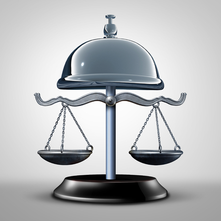 Law service and consumer protection services and attorney or lawyer advice concept as a justice scale shaped as a help bell as a 3D illustration. Reklamní fotografie - 81433000