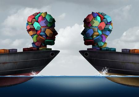 La sociedad de la logística y el concepto del acuerdo de la exportación del negocio como dos buques de carga del transporte con la carga formaron como cabeza humana que se encuentra junto como símbolo de la cooperación del envío y del transporte con los elementos del ejemplo 3D.