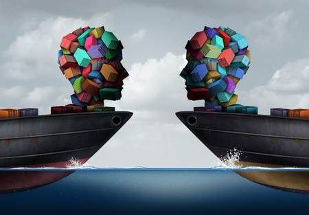 business: Logistics partnership and business export agreement concept as two transport cargo ships with freight shaped as a human head meeting together as a shipping and transportation cooperation symbol with 3D illustration elements.