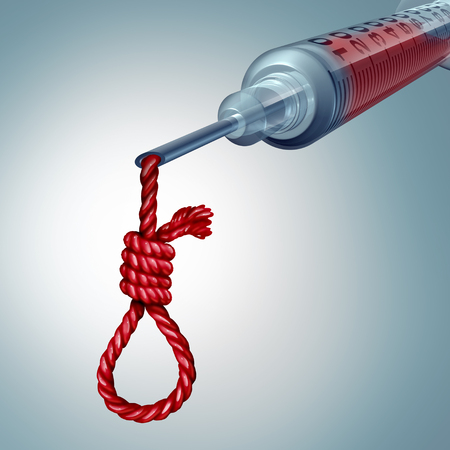 Health care danger and medical risk concept as a hospital syringe dripping blood shaped as a noose knot as a medicine hazard metaphore with 3D illustration elements. Stock Photo
