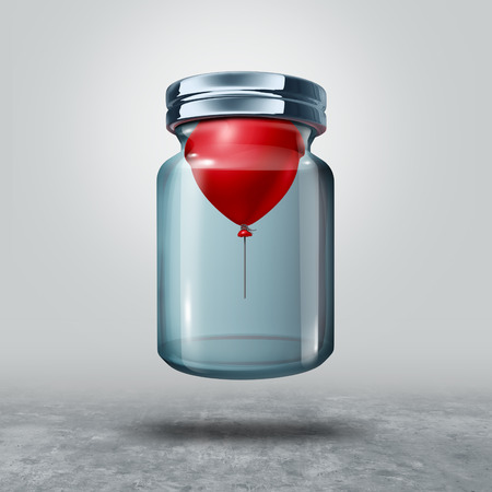unrestricted: Can not be held down business or life metaphor as a balloon in a closed bottle lifting the glass as a power concept and freedom symbol as a 3D illustration.