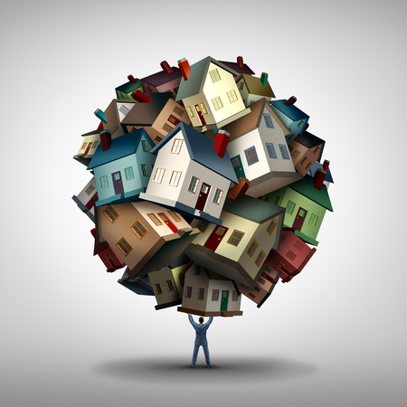 Real estate agent or realtor concept as a power seller sales person lifting a group of residential homes as a housing market and property industry metaphor with 3D illustration elements.
