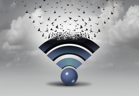 Wifi wireless distribution and internet technology expansion and data transfer as a mobile web icon transforming into flying birds as a media and content symbol with 3D illustration elements. Banco de Imagens