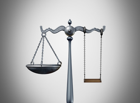 Child law legal idea and custody lawyer strategy concept balancing a justice scale as an attorney icon with a kid swing as a delinquent childhood symbol for youth court as a 3D illustration.