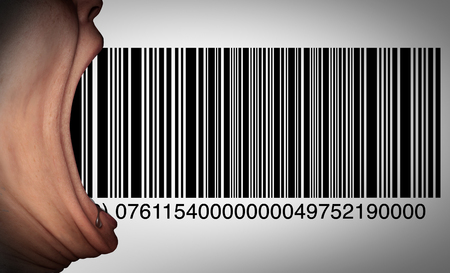 follower: Consumer consumption and customer taste idea as a client or purchaser concept as an open mouth eating a bar code as a symbol for public buyers in a 3D illustration style.