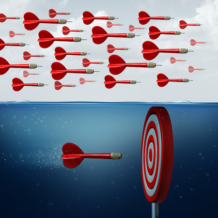 different thinking: Find opportunity concept  as a group of followers missing the opportunities below the water as an innovative thinker individual hitting the target with 3D illustration elements.