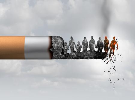 Fumo e società fumo morte e fumo concetto di pericolo di salute come una sigaretta che brucia con persone che cadono come vittime in cenere caldo bruciare come una metafora che causa il rischio di cancro ai polmoni con elementi di illustrazione 3D. Archivio Fotografico