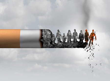 Le tabagisme et la société fument le concept de danger de mort et de fumée en tant que cigarette brûlant avec des personnes qui tombent comme victimes dans des cendres brûlantes comme une métaphore qui cause des risques de cancer du poumon avec des éléments d'illustration 3D. Banque d'images