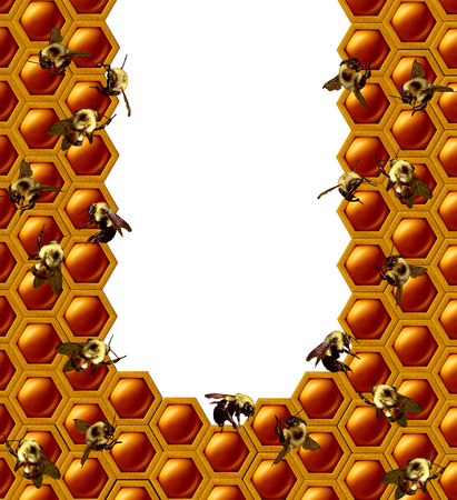 Beehive honeycomb frame with a group of working bee insects on a white isolated copy space center with 3D illustration elements