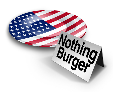 journalism: Political nothing burger or nothingburger phrase concept as an empty plate with an American flag representing fake news investigation or insignificant media information that lacks substance or guilt as a politics hoax 3D illustration.