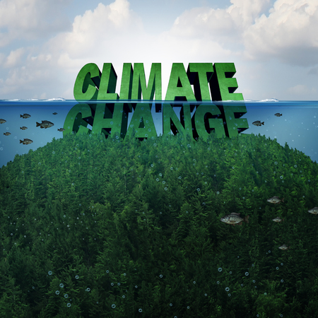 Climate change and extreme weather conditions concept and rising sea levels due to global warming and melting of the polar ice caps as a mountain under water and flooded as text with 3D illustration elements.