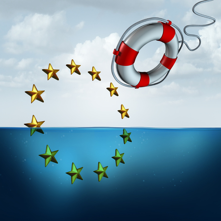 Saving the European union and Eu euro protection as a political and economic crisis insurance concept as a life buoy or saver saving the Europe flag stars with 3D illustration elements. Stock Photo